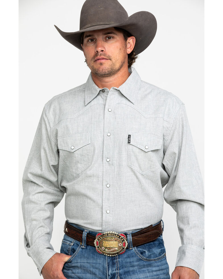 Cinch Men's Heather Grey Solid Modern Long Sleeve Western Shirt , Heather Grey, hi-res