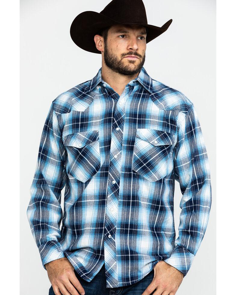 Resistol Men's Squaw Large Plaid Long Sleeve Western Shirt , Blue, hi-res