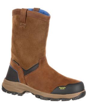 Georgia Boot Men's Wellington Waterproof Work Boots - Round Toe, Brown, hi-res
