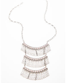 Shyanne Women's Moonlit Three Row Wide Fringe Necklace , Silver, hi-res