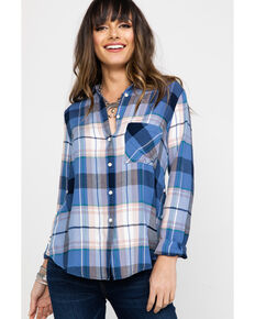Shyanne Women's Multi Plaid Button Front Long Sleeve Western Shirt , Blue, hi-res