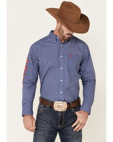 Ariat Men's Blue Team Barle Geo Print Long Sleeve Button-Front Western Shirt , Blue, hi-res