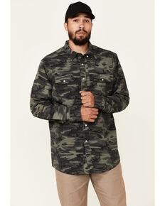 Panhandle Men's Camo Print Performance Long Sleeve Snap Western Shirt , Olive, hi-res