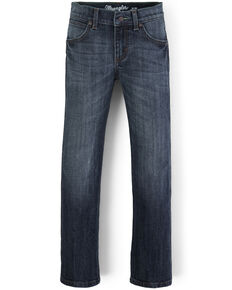 Wrangler Retro Boys' Straw Dark Stretch Slim Straight Jeans , Blue, hi-res