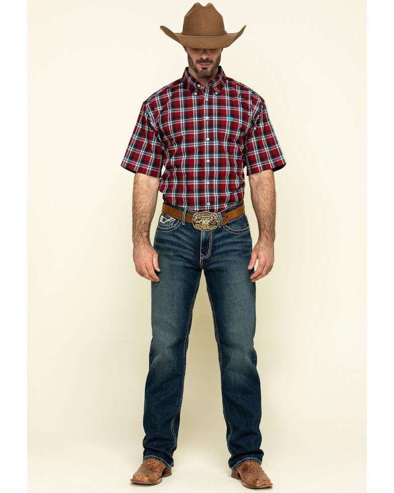 Cinch Men's Large Red Plaid Short Sleeve Western Shirt , Red, hi-res
