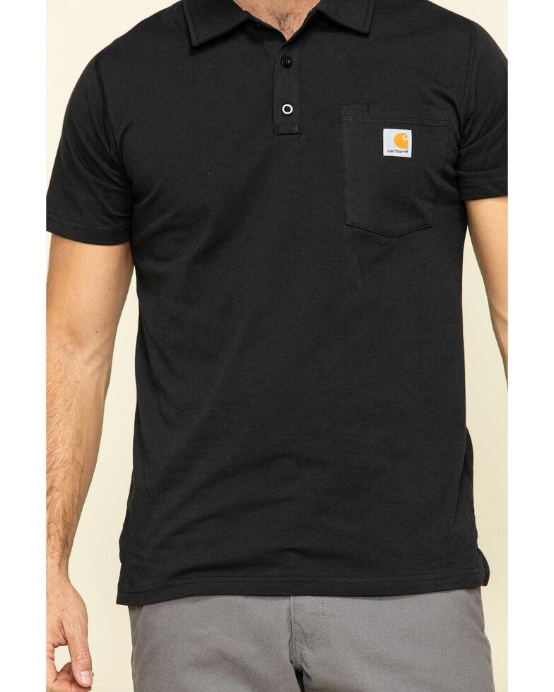 Carhartt Men's Black Force Cotton Pocket Polo Work Shirt , Black, hi-res