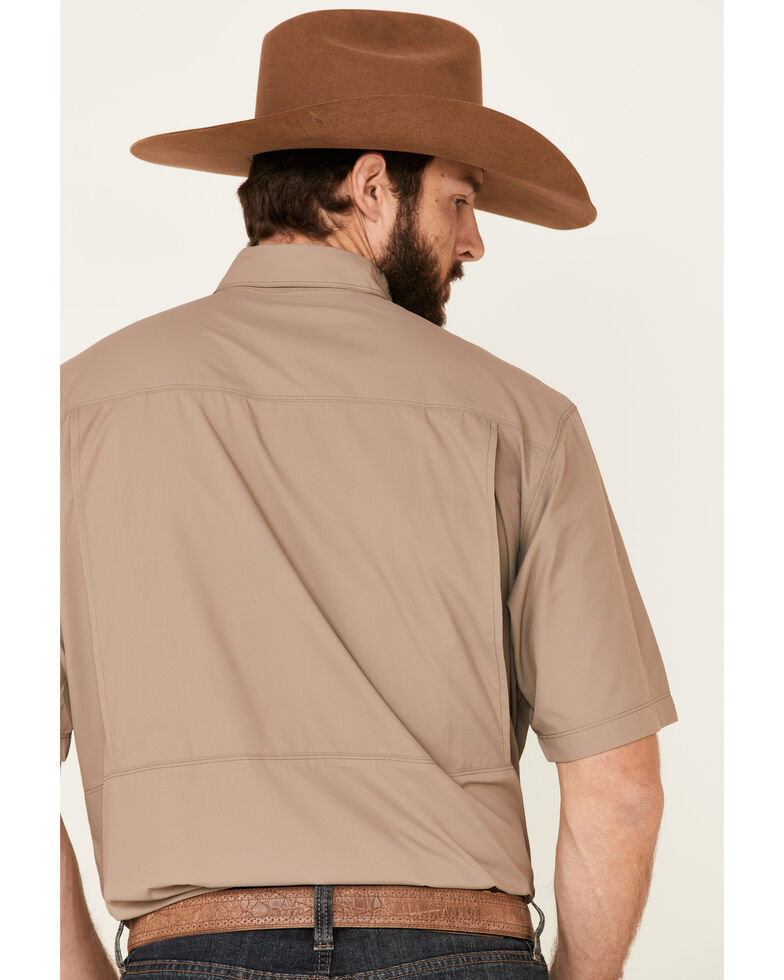 Ariat Men's Brindle Vent Tek Outbound Short Sleeve Western Shirt , Tan, hi-res