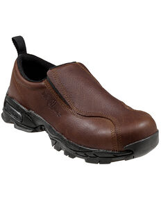 Nautilus Women's ESD Slip-On Work Shoes - Steel Toe, Brown, hi-res