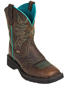 Justin Women's Mandra Chocolate Western Boots - Wide Square Toe, Chocolate, hi-res