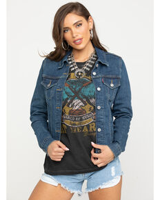 Levi's Women's Ex Boyfriend Trucker Jacket, Blue, hi-res