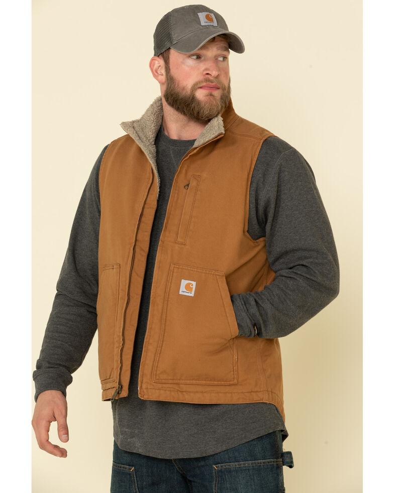 Carhartt Men's Brown Washed Duck Sherpa Lined Mock Neck Work Vest , Brown, hi-res