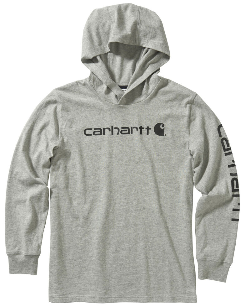 Carhartt Youth Boys' Grey Logo Sleeve Hooded Sweatshirt , Grey, hi-res