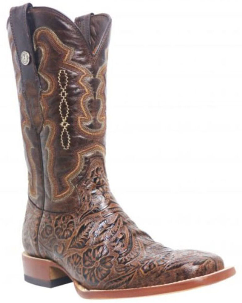 Tanner Mark Men's Hand Tooled Western Boots - Wide Square Toe, Brown, hi-res