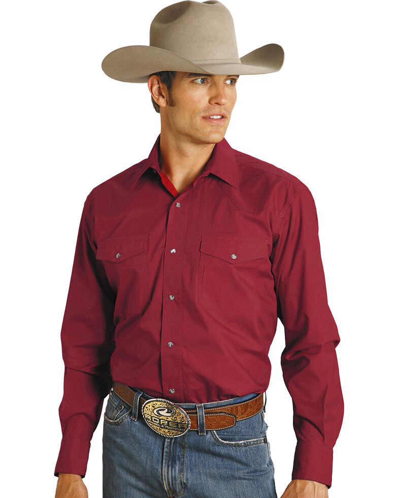 Roper Men's Amarillo Collection Western Shirt, Red, hi-res
