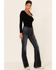 Shyanne Women's Dark Blue Geometric Embroidered Pocket Bootcut Jeans, Medium Blue, hi-res