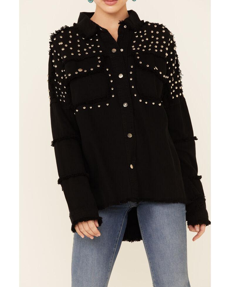 Elan Women's Black Studded Frayed Snap-Front Jacket , Black, hi-res