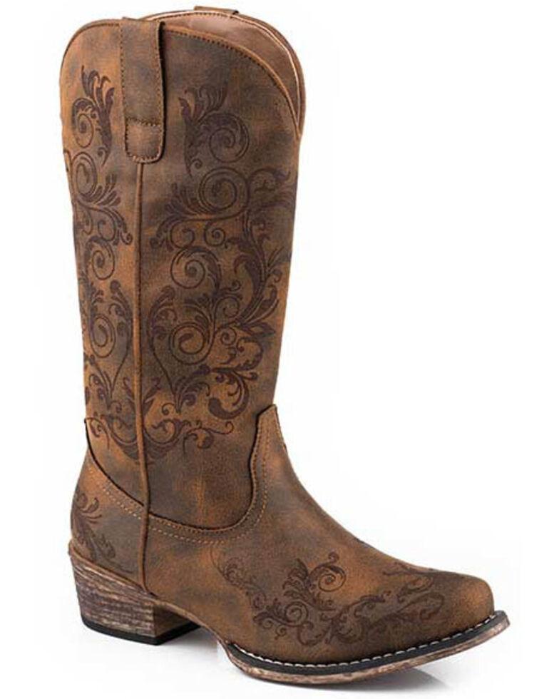 Roper Women's Tall Stuff Western Boots - Snip Toe, Tan, hi-res