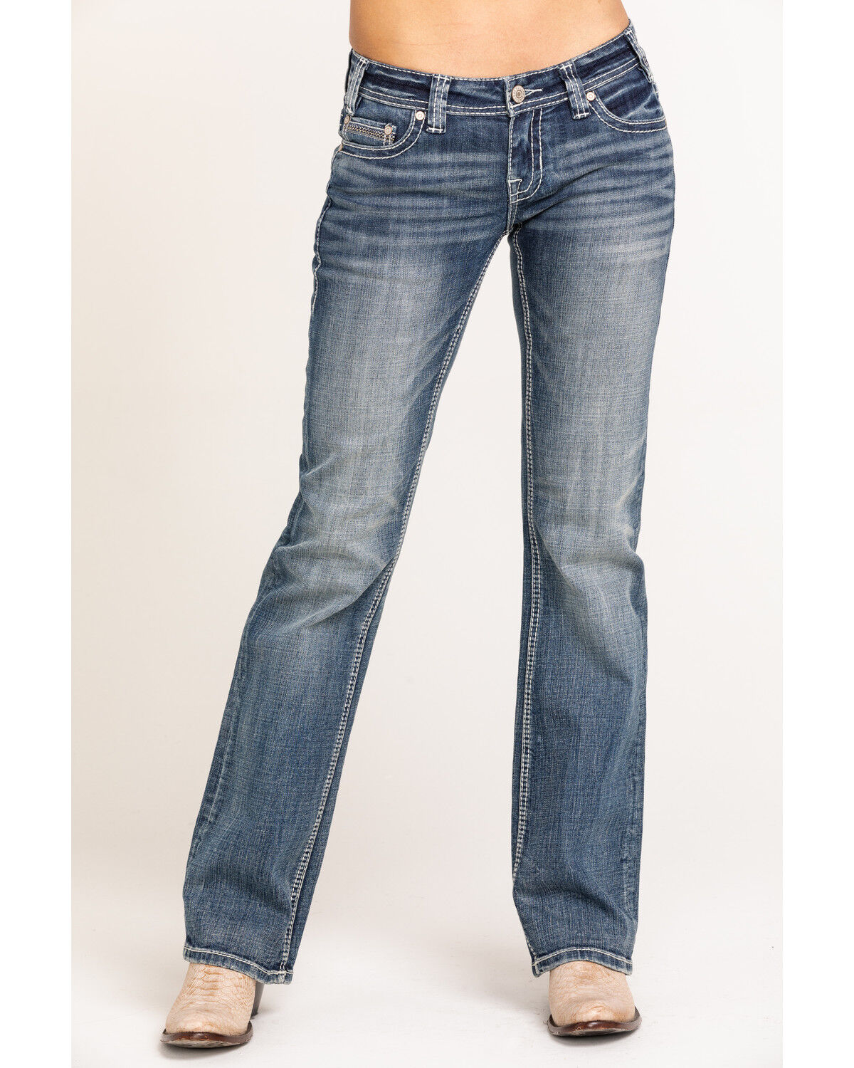 Rock and Roll Cowgirl Women/'s Medium Vintage Riding Jeans W7-3427