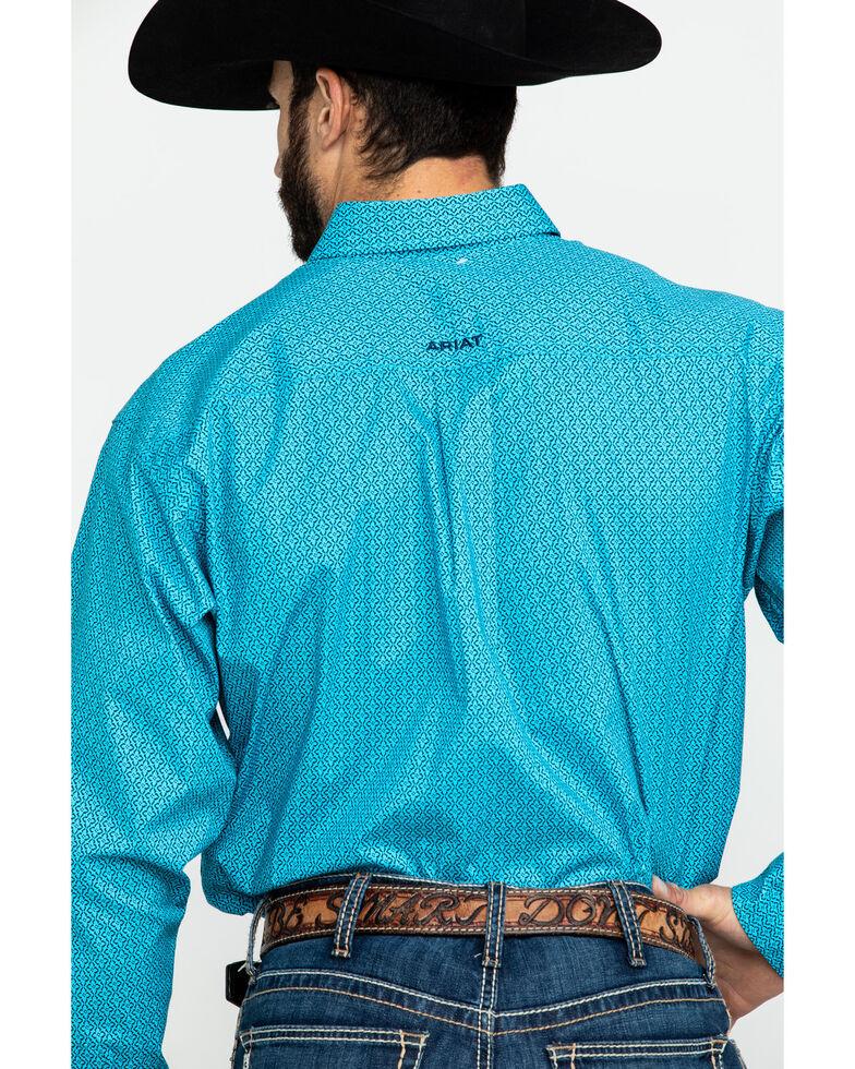 Ariat Men's Tasher Stretch Geo Print Long Sleeve Western Shirt , Blue, hi-res