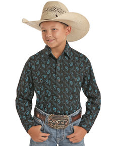 Panhandle Select Boys' Brushed Blue Paisley Print Long Sleeve Western Shirt , Black, hi-res