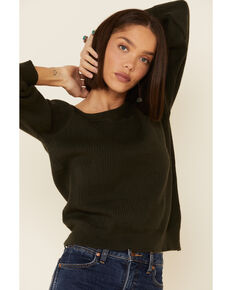 Wishlist Women's Off The Shoulder Ribbed Sweater , Olive, hi-res