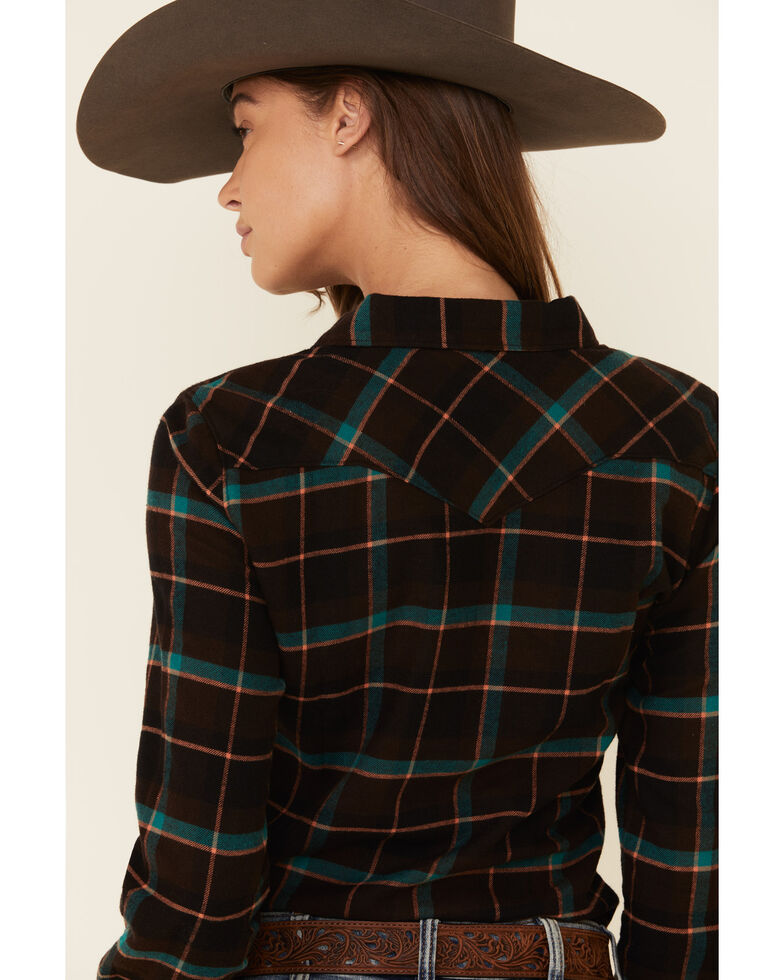 Shyanne Life Women's Black Plaid Long Sleeve Western Flannel Shirt , Black, hi-res