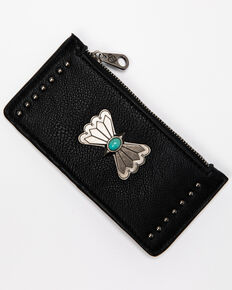 Shyanne Women's Black Credit Card Concho Wallet, Black, hi-res