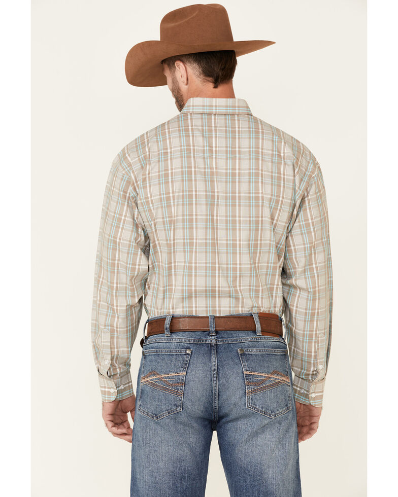 Panhandle Select Men's Taupe Plaid Long Sleeve Button-Down Western Shirt , Taupe, hi-res