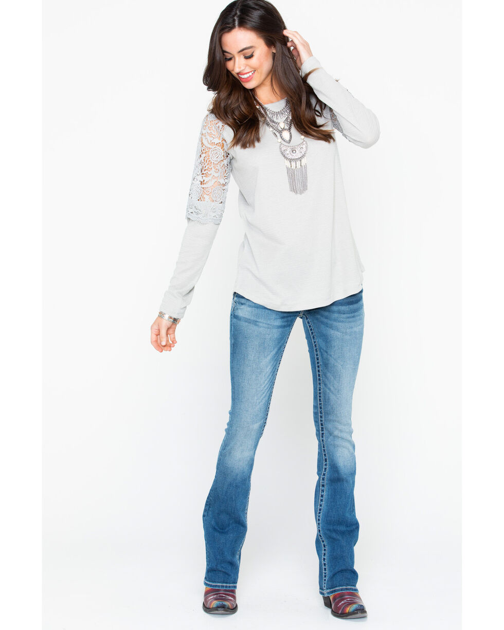 Cowgirl Up Women's Lace Shoulders Long Sleeve Top, Grey, hi-res