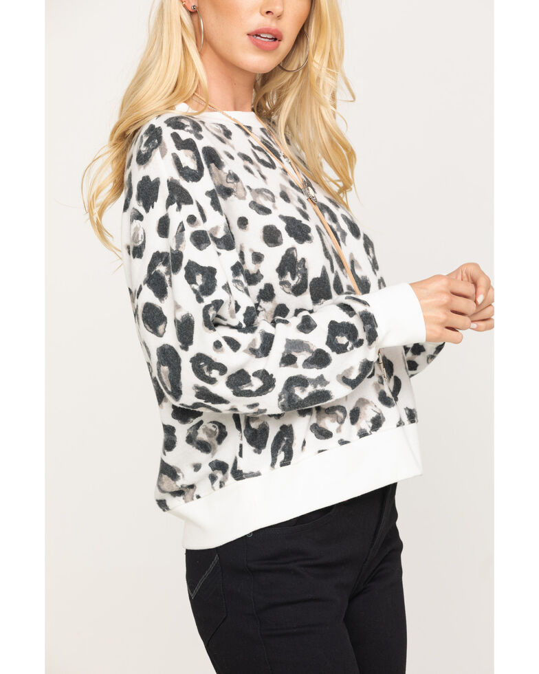Z Supply Women's Leopard Print Cropped Pullover, Leopard, hi-res