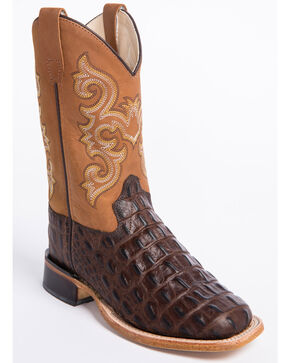 Cody James Boys' Faux Gator Western Boots - Wide Square Toe, Brown, hi-res