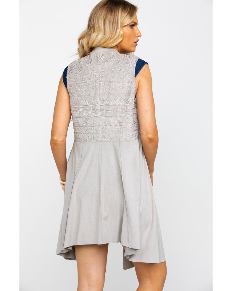 Vocal Women's Gray Faux Suede Draped Tonal Embroidered Long Vest  , Grey, hi-res