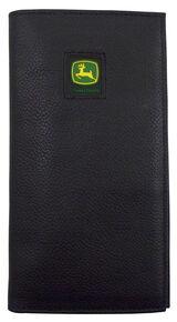 John Deere Pebble Grain Checkbook Wallet, Black, hi-res