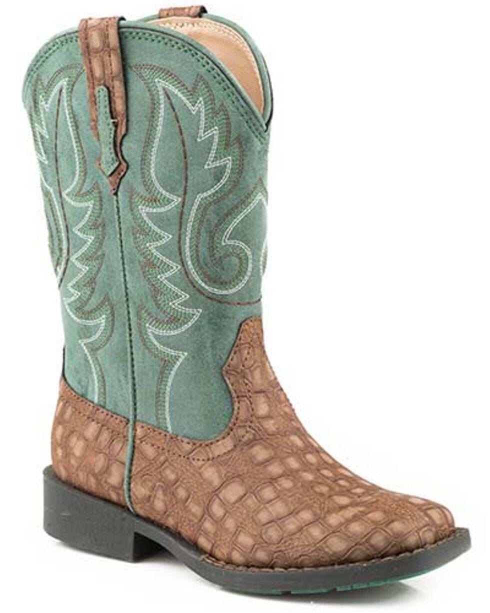 Roper Girls' Gator Western Boots - Square Toe, Brown, hi-res