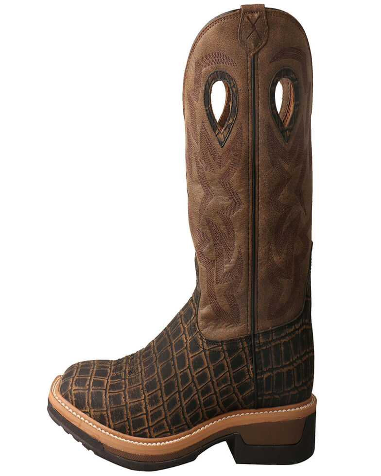 Twisted X Men's Lite Western Work Lite Caiman Print Boots, Brown, hi-res