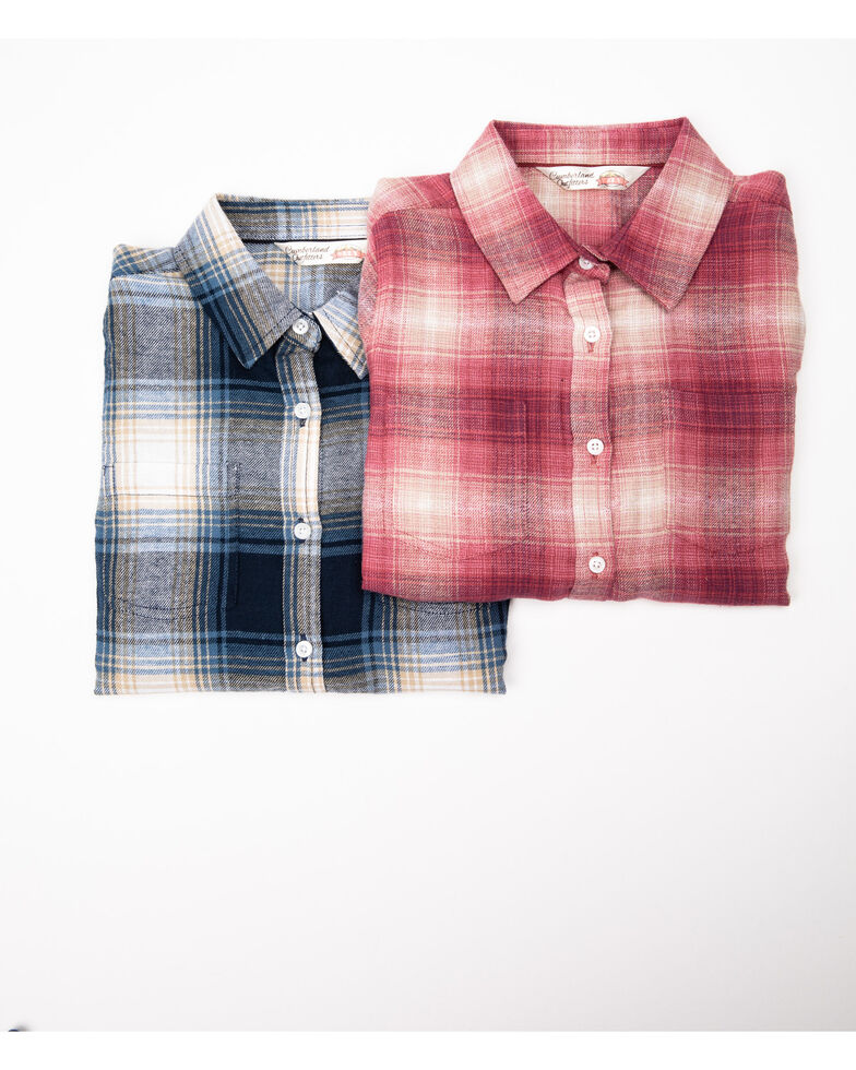 Cumberland Outfitter Girls' Assorted Pink and Blue Plaid Long Sleeve Woven Shirt, Multi, hi-res