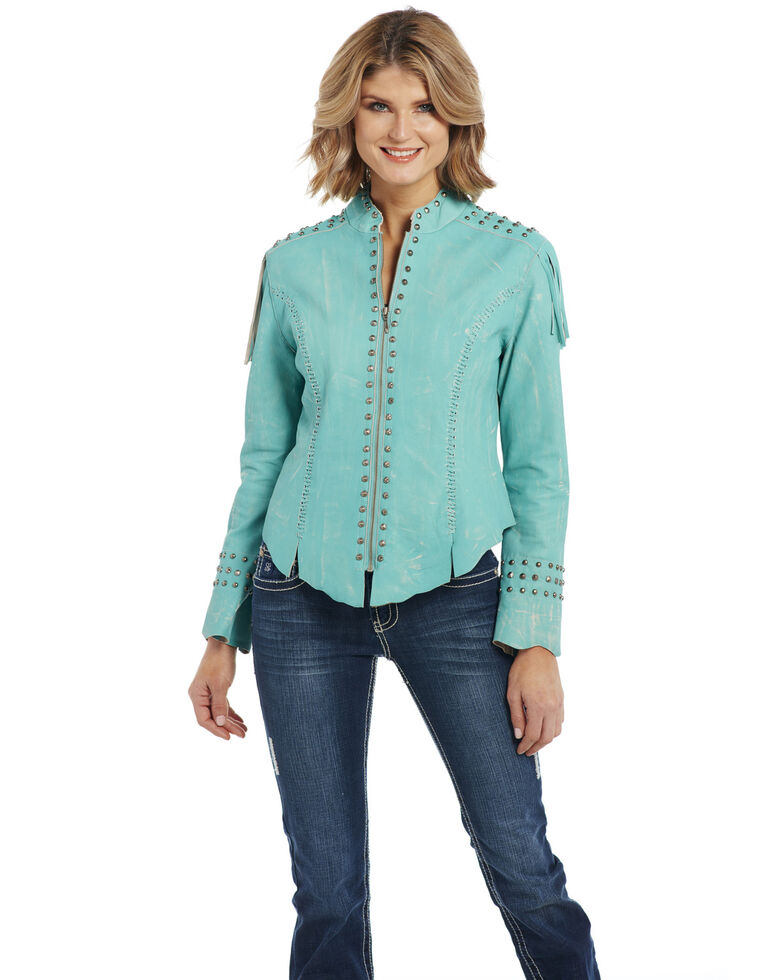 Cripple Creek Women's Vintage Turquoise Military Jacket, Turquoise, hi-res
