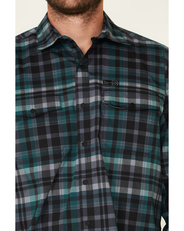 Wrangler All Terrain Men's Dark Green Plaid Pocket Utility Long Sleeve Western Flannel Shirt , Green, hi-res