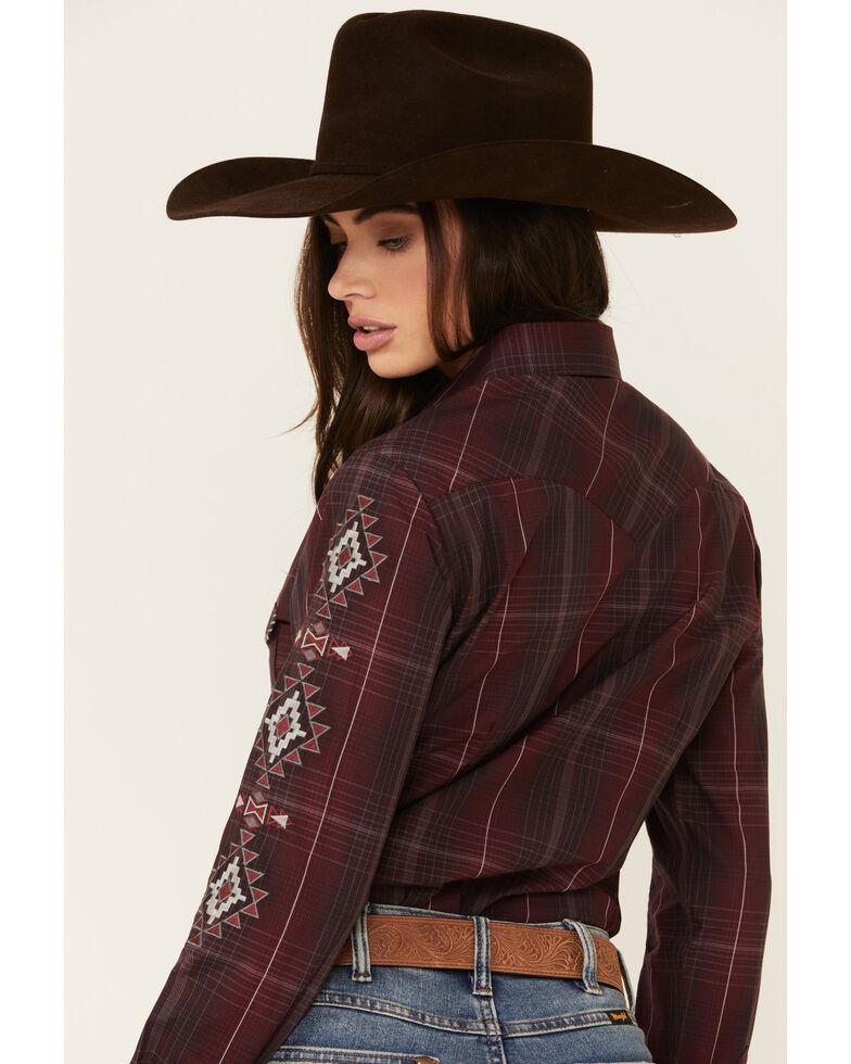Panhandle Women's Burgundy Large Plaid Embroidered Long Sleeve Western Shirt , Burgundy, hi-res