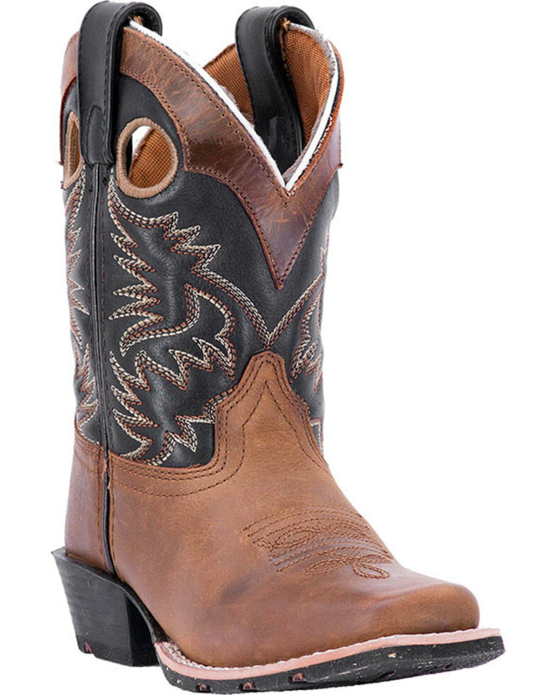 Dan Post Boys' Rascal Western Boots - Square Toe, Brown, hi-res