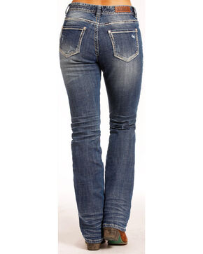 Rock & Roll Cowgirl Women's Boyfriend Feather Jeans - Straight Leg , Indigo, hi-res