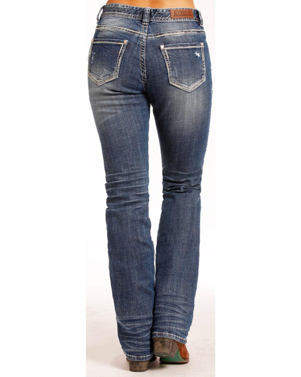 Rock & Roll Cowgirl Women's Boyfriend Feather Jeans - Straight Leg , Indigo, hi-res