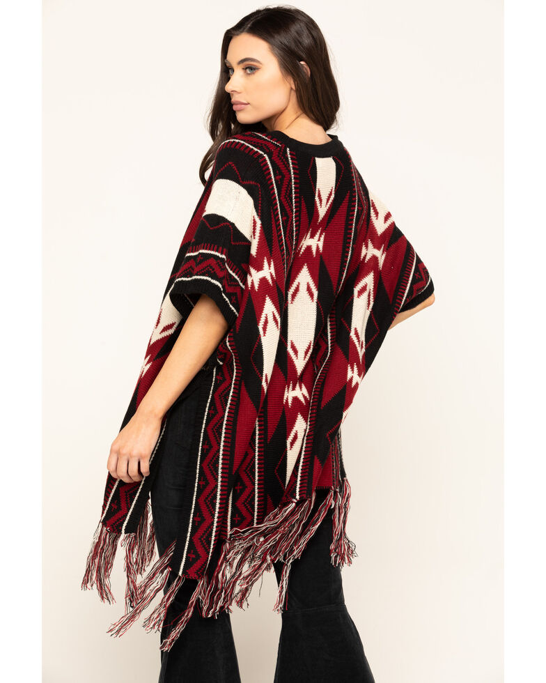 San Diego Hat Co. Women's Navajo Print Poncho, Red, hi-res