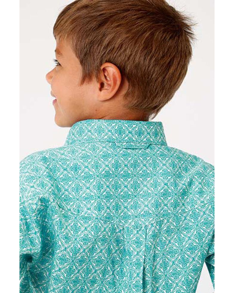 Roper Boys' Amarillo Medallion Print Short Sleeve Western Shirt , Blue, hi-res