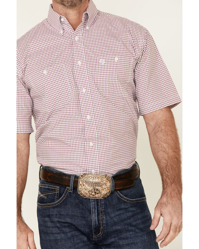 George Strait By Wrangler Men's Fuchsia Small Plaid Short Sleeve Button-Down Western Shirt  - Tall, Pink, hi-res