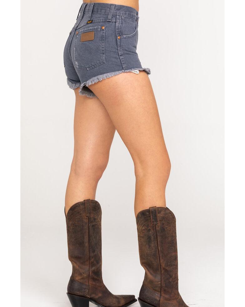 Wrangler Women's Grey Denim Heritage Frayed Shorts , Grey, hi-res