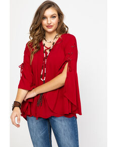 Honey Creek by Scully Women's Red Hi-Low Flared Top, Red, hi-res
