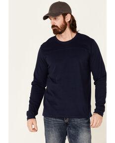 North River Men's Blue Moleskin Crew Long Sleeve T-Shirt , Blue, hi-res