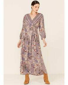 Nostalgia Women's Lilac Lace Trim Floral Dress, Periwinkle, hi-res