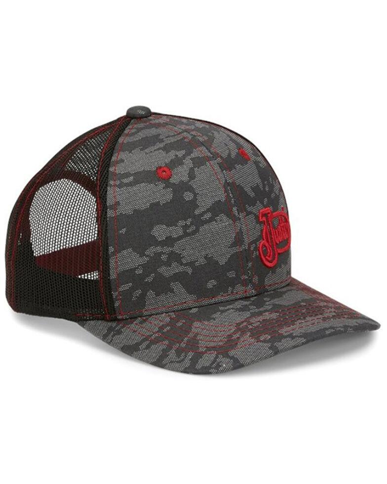 Justin Men's Grey Camo & Red Embroidered Logo Mesh-Back Ball Cap , Grey, hi-res